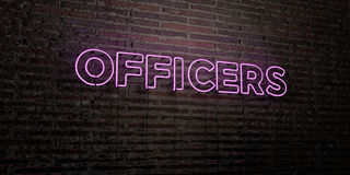 OFFICERS -Realistic Neon Sign on Brick Wall background - 3D rendered royalty free stock image. Can be used for online banner ads and direct mailers Royalty Free Stock Photography
