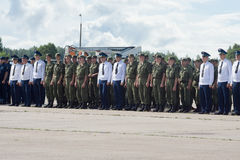 Officers and soldiers at the airfield at the open day at the air Stock Photography