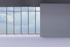 Offices Modern and a wall with an empty Big window Royalty Free Stock Photography