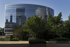 Offices and parks. Offices and green recreation parks, business center in Paris Royalty Free Stock Photography