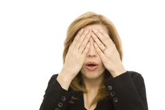 Officewoman behandelt haar ogen Stock Foto