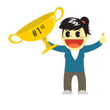Officewomen cartoon and big trophy of the first rank Royalty Free Stock Photo