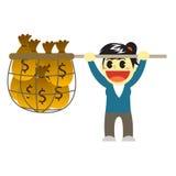 Officewomen cartoon and net of money Stock Photos