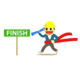Officewomen cartoon and run to finish line 1 Stock Image