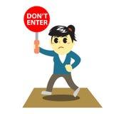 Officewomen cartoon and stop sign 1 Stock Photo