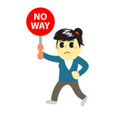Officewomen cartoon and stop sign 2 Stock Photo