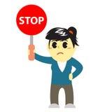 Officewomen cartoon and stop sign 3 Stock Image