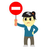 Officewomen cartoon and stop sign Royalty Free Stock Photography