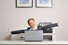 Officeworker飞行 免版税库存图片