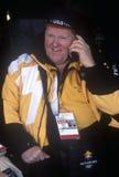 Officiële arbeider op telefoon tijdens 2002 de Winterolympics, Salt Lake City, UT Stock Fotografie