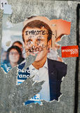 Officiële campagneaffiches van Emmanuel Macron, politieke partij le Royalty-vrije Stock Afbeeldingen