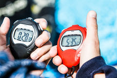 Officiële Chrono van een Freediving AIDA Performance Stock Foto