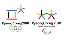 Officiële emblemen van de 2018 de Winterolympische spelen in PyeongChang Stock Foto's
