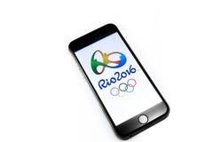 Officiële emblemen van de Zomerolimpics van 2016 Royalty-vrije Stock Foto's