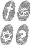Officiële godsdienst en vingerafdruk Stock Afbeeldingen