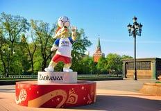 Officiële mascotte Zabivaka van de Wereldbeker 2018 van FIFA in Moskou, Russi royalty-vrije stock fotografie