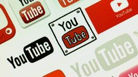 Officiële plaats van Google Het scherm geschoten Logo Youtube stock videobeelden