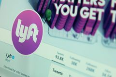Lyft twitter profile. Official account of lyft transportation company on twitter on laptop screen royalty free stock photography