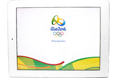 Official application of the 2016 Summer Olympic Games. Bangkok, Thailand - July 31, 2016: Official application of the 2016 Summer Olympic Games in Rio de Janeiro royalty free stock photos