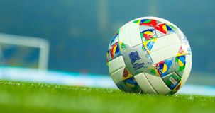 Official ball League of Nations of UEFA. KHARKIV, UKRAINE - 16 OCTOBER 2018: Official ball League of Nations of UEFA during UEFA League match Ukraine - Czech royalty free stock photos