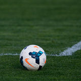Official ball of the Liga 1. GALATI, ROMANIA - AUGUST 20: Official ball of the Liga 1 in soccer game Otelul Galati vs. CFR Cluj, score 0-2, on August 20, 2014 in stock photography