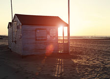 Official Beach Hut in Sunset Royalty Free Stock Images
