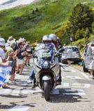 Official Bike During Le Tour de France. Port de Pailheres,France- July 06 2013:Official bike driving on the road to Col de Pailheres in Pyrenees Mountains Royalty Free Stock Photos
