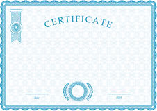 Official blue guilloche certificate Stock Photo