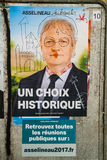 Official campaign posters of Francois Asselineau, political part. STRASBOURG, FRANCE - APR 26, 2017: Official campaign posters of Francois Asselineau, political Stock Image