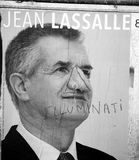 Official campaign posters of Jean Lassalle political party leade Stock Image