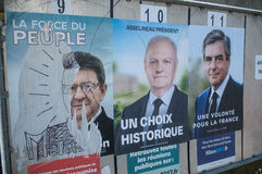 Official campaign posters of political party leaders ones of the eleven candidates running in the 2017 French presidential electi Stock Photography