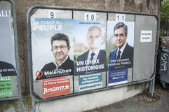 official campaign posters of political party leaders ones of the eleven candidates running in the 2017 French presidential electi Stock Image