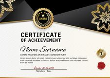 Official certificate of appreciation award template with black and golden shapes and badge. Creative luxury certificate of appreciation award template with black Royalty Free Stock Photography