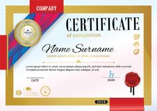 Official certificate with badge, red ribbon and wafer. Bright red violet abstract design elements on white background. Gold border Stock Image