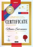 Official certificate with badge, red ribbon and wafer. Bright red violet abstract design elements on white background. Gold border Royalty Free Stock Image