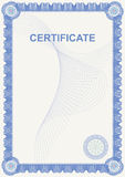 Official certificate with blue frame. Royalty Free Stock Photo