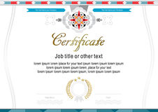 Official certificate with elegant colorful rosette. White elegant official certificate with flat elements stock illustration