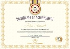 Official certificate of a4 format with beige border, Official simple blank. Gold emblem with gold ribbon. royalty free illustration