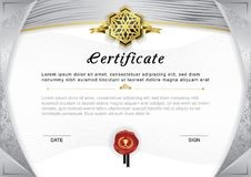 Official certificate. Grey gradient border and emblem, grey and gold design elements on white background. Stock Photo