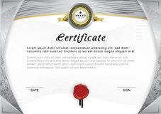 Official certificate. Grey gradient border and emblem, grey and gold design elements on white background. Royalty Free Stock Photos