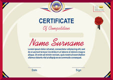 Official certificate: light yellow abstract background, red border, red wafer. Bright red violet emblem Stock Photo