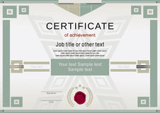 Official certificate with massive green design elements Stock Photography
