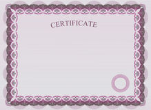 Official certificate. Pink border. Light certificate Stock Images