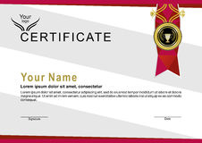 Official certificate with red ribbon and gold emblem. Triangle background Royalty Free Stock Images