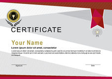 Official certificate with red ribbon and gold emblem Stock Image
