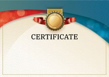 Official certificate with red turquoise wave design elements. Red ribbon and gold emblem. Vintage modern empty blank Royalty Free Stock Photo