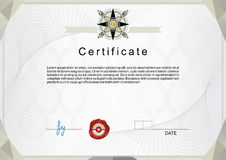 Official certificate with silver emblem Royalty Free Stock Photo