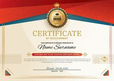 Free Official Certificate With Red Turquoise Square Design Elements. Red Ribbon And Gold Emblem. Vintage Modern Blank Royalty Free Stock Image - 115853216