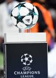 Official Champions League Ball. Football players pictured during the UEFA Champions League Group H game between Tottenham Hotspur and Borussia Dortmund on royalty free stock images