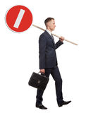 Official clerk with road sign Stock Photography